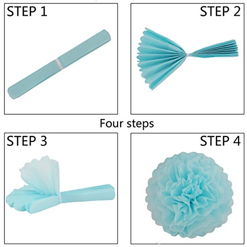 35 Pieces Blue Light Blue White Tissue Pom Poms Flower Party Paper Decor Kit for Wedding Decorations Baby Showers Birthday Celebrations
