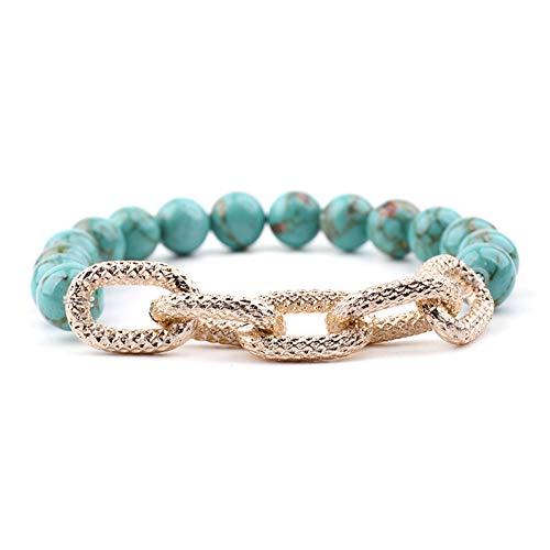 DMUEZW Natuurlijke Kaart Steen Groot Goud Aluminium Legering Ketting Bedel Armbanden Voor Vrouwen Trendy Vrouwelijke Armband Sieraden
