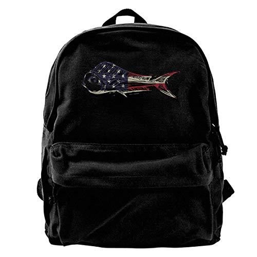Bookbag Mahi Fish USA American Flag Canvas Backpack Cute Casual Gift School Unique Men Travel Backpack Book Laptop Backpack Birthday Shoulder Bags Print Lightweight Women Daypack