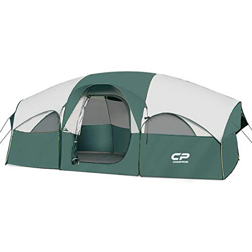 CAMPROS Tent-8-Person-Camping-Tents, Waterproof Windproof Family Tent, 5 Large Mesh Windows, Double Layer, Divided Curtain for Separated Room, Portable with Carry Bag, for All Seasons - Dark Green