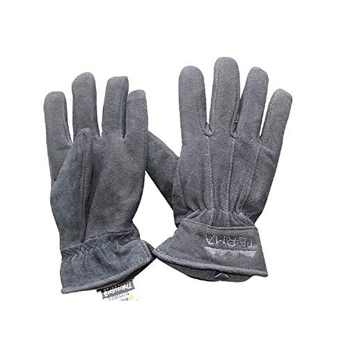 DGHJK Guantes de Trabajo de Cuero con Dedos completos, Guantes de conducción Diaria Resistentes al frío de Dos Capas para Deportes al Aire Libre, XL
