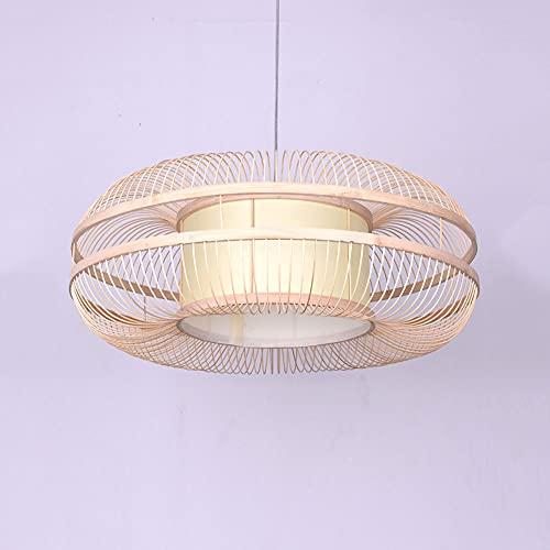 KAIKEA Lámpara de araña de bambú de estilo chino Creatividad moderna Lámpara colgante de ratán tejida a mano Accesorios de iluminación para comedor Lámpara colgante E27 Cabeza única para sala de estar