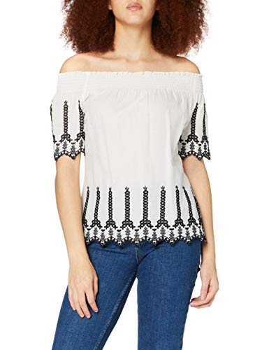 ONLY Damen ONLSHERY Contrast DNM TOP Bluse, Weiß (Cloud Dancer Detail: Emb. ANG. In...