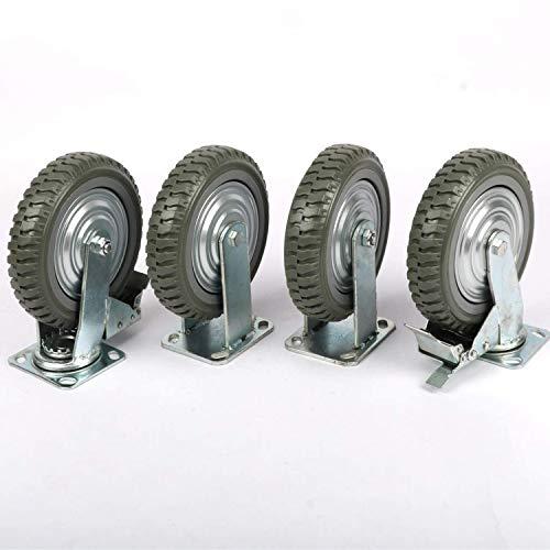 4 ruedas de 200 mm, capacidad de carga de 800 kg, ruedas industriales, ruedas giratorias con rodamiento de bolas de 360°, placa superior de policloruro antideslizante (2 frenos)