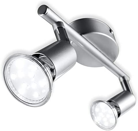 B.K.Licht plafonnier 2 spots LED orientables, 2 ampoules LED 3W GU10 fournies, 250lm par spot, blanc chaud 3000K, écl...