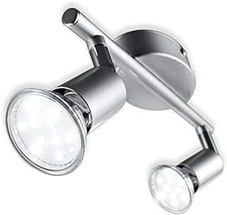 B.K.Licht - Lámpara de techo con 2 focos LED GU10, focos ajustables y giratorios para interiores, de luz blanca cálida, 3W...
