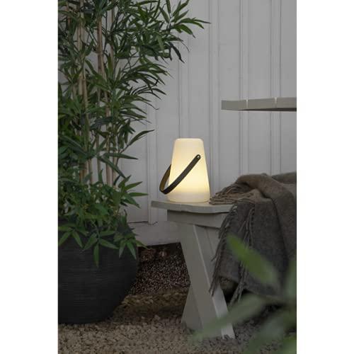 KAMACA LED Laterne Gartenlampe in Weiss mit sanftem Licht - mit Timer - für Innen und Außen - hängende Gartenlaterne Indoor Outdoor 29x13,5 cm