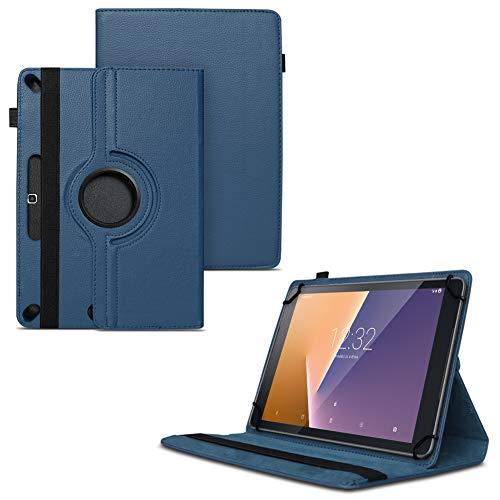 Nauci Tablet Schutz Hülle für Vodafone Tab Prime 6/7 aus hochwertigem Kunstleder mit Standfunktion 360° Drehbar kombiniert Schutz und Design Cover Case, Farben:Blau