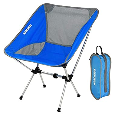 MARCHWAY Ultralight Folding Camping Chair, Portable Compact for Outdoor Camp, Travel, Beach, Picnic, Festival, Hiking, Lightweight Backpacking (Bright Blue)
