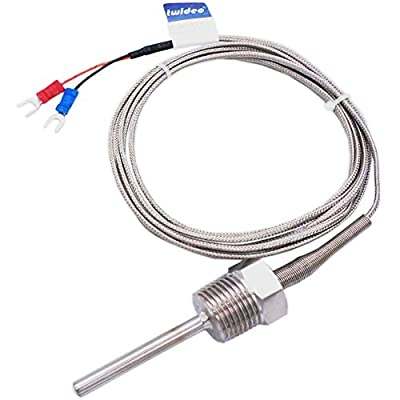 """Twidec/2M NPT 1/4"""" Or 1/2"""" inch 50MM Or 100MM (can Choose) Pipe Thread Temperature Sensor Probe Two Wire Temperature Controller (0~600?) 304 Stainless Steel K Type Thermocouple"""