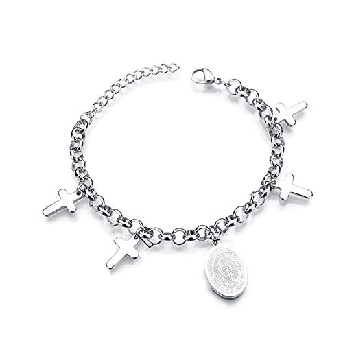 YDMSGSB Pulsera de Cruces de Acero Titanio con Cadena de múltiples Capas con Etiqueta de Virgen María de Love Beads