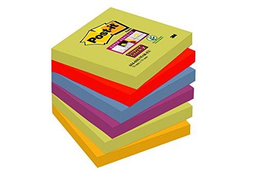 Post-It 654-6SS-MAR-EU - Pack de 6 blocs de notas adhesivas, 76 x 76 mm, Marrakech (Verde/ Rojo/Azul/Violeta/Amarillo)