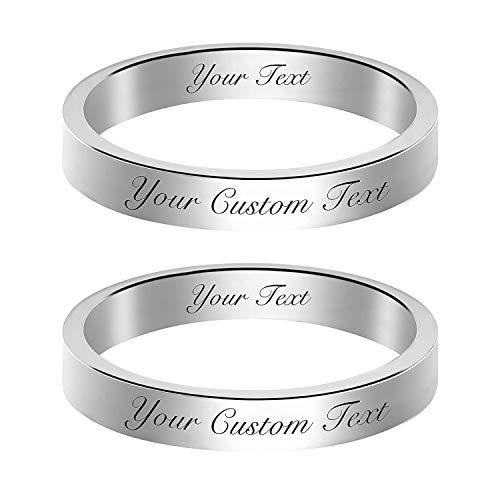 EBAT Anillos de amor a juego para parejas, personalizados, hechos a mano, con nombres personalizados, para mujeres, anillo de promesa de plata de ley 925, regalo para esposa, niña, amiga