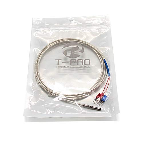 T-PRO RTD PT100 Temperature Sensors Three-wire System,Stainless Steel Probe(4×30MM) Range:-50℃-200℃ (10Feet)