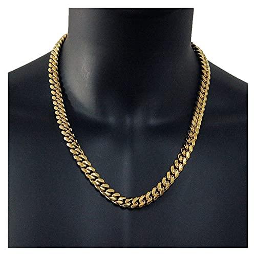 JIAQ Hombre Hip Hop Cadenas Collares Acero Inoxidable Nunca Desvanecimiento Rapper 10 Mm Ancho Cuba Cadena Collar Hiphop Regalo De Joyería (Length : 22inch(55cm), Metal Color : Gold-Color)