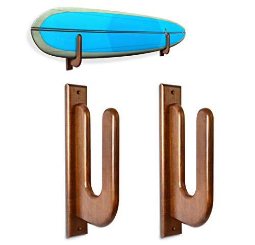 TESLYAR Surfboard Rack Holder Hooks Ash Tree Wood Eco-Friendly Display Natural Finish Snowboard Wakeboard Brown Big