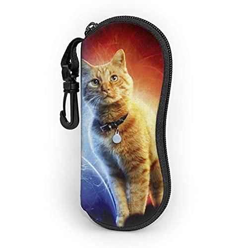 Ascfeagh Captain Cat Burning Water Cremallera Shell Gafas de sol Estuche/Estuches para gafas Unisex Durable Portátil Ligero 17x8cm