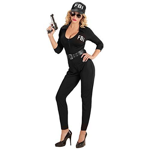 Amakando Verführerisches Agenten-Kostüm für Frauen / Schwarz M (38/40) / Reizvolles Polizistin-Outfit FBI-Agentin / EIN Blickfang zu Fasching & Karneval