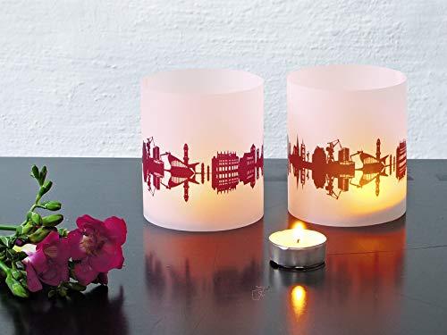 Rostock Tischlicht 2er Set Lichthülle mit eigenem Text Namen Botschaft bedruckt, individuell personalisiert
