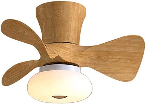NZDY Ventilador de Techo de Madera con Luces Pequeño Ventilador Techo Luz con Control Remoto Silencioso 6 Velocidades Blade de Madera Mute Fan de Techo para Dormitorio, Sala de Estar