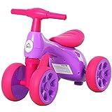 homcom Bicicletta Equilibrio Senza Pedali Triciclo Bambini Giochi con 4 Ruote per Bambini da 18-36 Mesi Viola e Fucsia 57cm x 33.5cm x 42.5cm