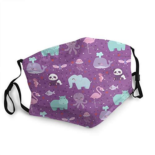 ZVEZVI Animales de dibujos animados Naturaleza boca cuello polaina bufanda personalizada lavable media máscara con orejeras ajustable divertido pasamontañas pañal