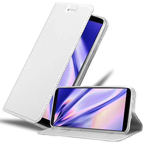 Cadorabo Hülle für OnePlus 5T in Classy Silber - Handyhülle mit Magnetverschluss, Standfunktion & Kartenfach - Hülle Cover Schutzhülle Etui Tasche Book Klapp Style
