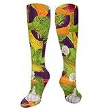 XIEABC Calcetines de rodilla unisex, cómodos y suaves para correr, deportes, vuelo, embarazo, enfermera, verduras, alimentos veganos, frutas, flores