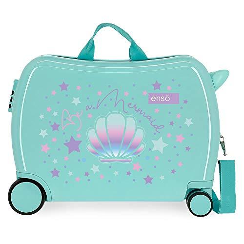 Enso Be a Mermaid Maleta Infantil Verde 50x39x20 cms Rígida ABS Cierre combinación 34L 2,1Kgs 4 Ruedas Equipaje de Mano