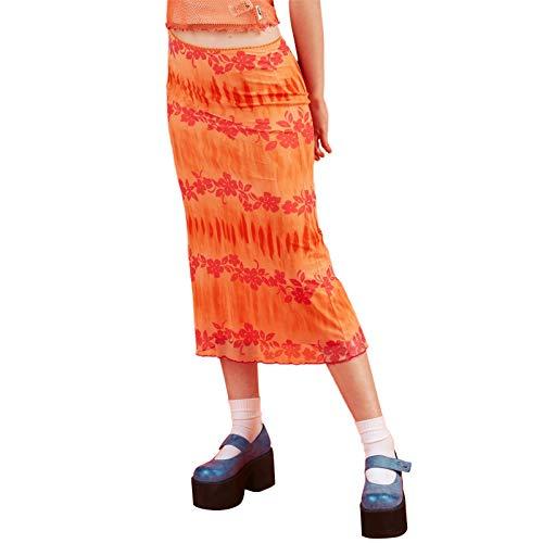 Women's Heart Print High Waisted Bohemian Midi Skirt A-Line Bodycon Long Pencil Skirt Y2K Streetwear E-Girl 90S Fashion (Orange Floral, S)