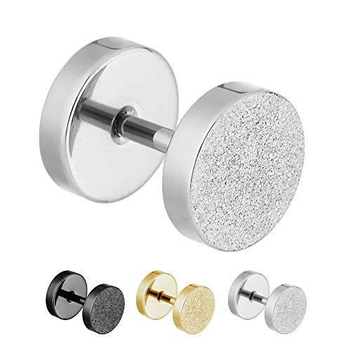 Treuheld® | 6mm Fake Plug Ohrstecker in Diamant Glitzer Optik | Silber | Fake Tunnel Ohrring zum Schrauben für Damen und Herren | Chirurgenstahl
