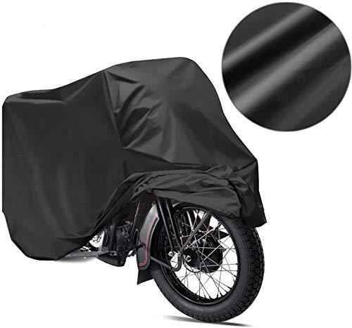 Telo Coprimoto Impermeabile, Teli per moto 190T Anti-polvere Anti-UV Anti-piove 245 * 105 * 125cm (XXL) - Nero