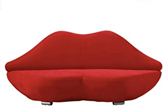 Q-silla Sofá Creativo de los Labios Rojos, sofá Ocasional Simple del Dormitorio Sofá Perezoso, sofá pequeño Perezoso de la Sala de Estar del apartamento (Color : Leather)