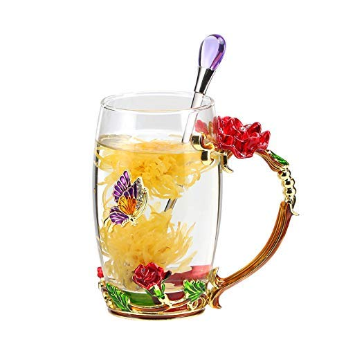 Unique 2018 New Birthday Presents Mother Day Gift For Women Girl Boyfriend Novelty Flower Glass Tea