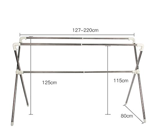 Trockengestelle falten Doppelstange Trockengestelle Indoor Balkon Teleskopstange Kleiderbügel ( größe : 127-220cm )