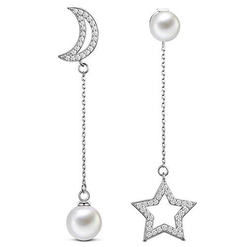 Pendientes de SWEETIEE, de plata de ley 925, con circonitas AAA en pavé con forma de luna y estrella, y perlas de imitación de primera calidad platino, de 50 mm de longitud