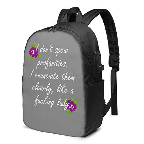 IUBBKI Bolsa para computadora mochila USB I Do Not Spew Profanities I E-Nunciate Them Clearly Like A Fucking Lady 17 Inch Laptop Backpack For Men & Women,Travel/School Backpack With Usb Charging Port