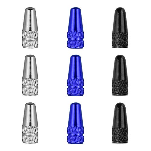 KARAA 9Pcs Ventilkappen Fahrrad Französisch für Fahrrad Reifen MTB Rennrad Schwarz Silber Blau Staubschutzkappen Aluminiumlegierung