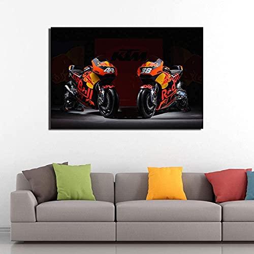 JIAJIFBH Cuadros de Lienzo Superbike RC16, Carteles de Bicicletas de Carrera, Pintura en Lienzo, Cuadro artístico de Pared para habitación, decoración del hogar, 70x90cm sin Marco