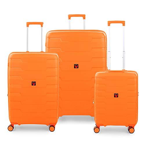 RONCATO Skyline - Juego de 3 maletas rígidas ampliables (L, medio + cabina), color naranja
