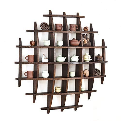 JIU Solid Wood Tea Cup Holder Wall Decoration Tea Set Display Stand Vintage Multi-Color Teapot Rack (Size : A)