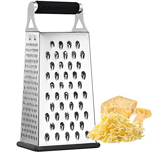 K BASIX Cheese Grater & Shredder - Stainless Steel - Razor Sharp Blades - Medium Shred - Ideal Hand Grater for Hard Fruit, Root Vegetables, Nuts, Parmesan Cheese & More! (4 Sided Box Grater)