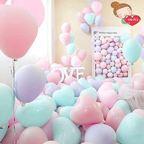 Palloncini Cuore , ballon joyeux anniversaire,100 Palloncini Matrimonio Cuore, Palloncini a Forma di Cuore Elio per Matrimoni, Festa Evento Cerimonia Decorazione Romantico Amore (Colore casuale)