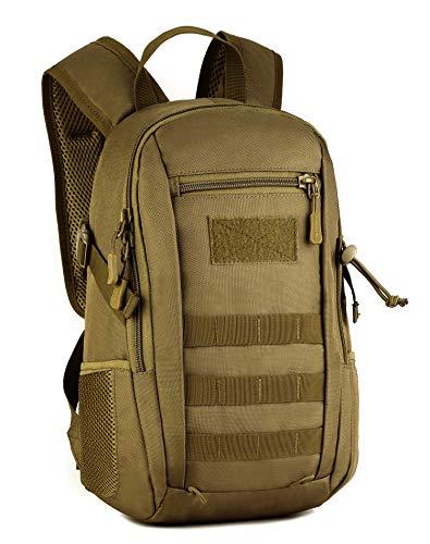 Yakmoo Mochila de Asalto Estilo Militar Táctico Molle Sistema Bolsa de Estudiante Mini Mochila Impermeable 12L al Aire Libre Marrón