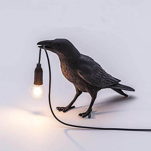 Lámpara de mesa de cuervo, Estilo Nórdico Lámpara de Mesa Animal Crow Diseño Realista en Forma de Pájaro Lámpara de Escritorio de Pájaro Sentado Luminaria de Resina Raven (negro)