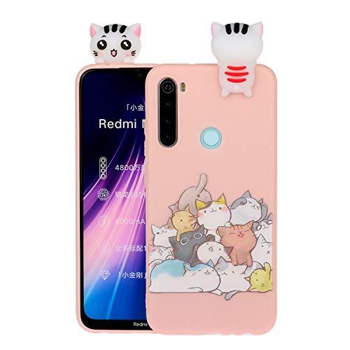 SEEYA Funda Silicona 3D para Xiaomi Redmi Note 8 Case Dibujo Gato Rosado Carcasas y Fundas para móviles Suave Flexible Delgado Bumper Diseño Animados Linda Caso Blando Bonitas