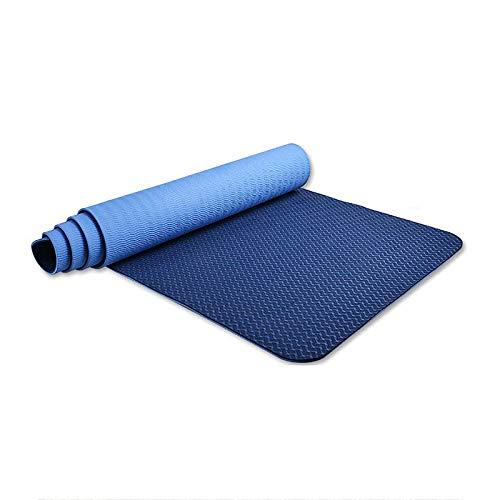 QPMY Esterilla de yoga, respetuosa con el medio ambiente de doble capa, esterilla de yoga para el hogar, alargada y engrosada, 72 x 32 pulgadas, 6 mm, azul