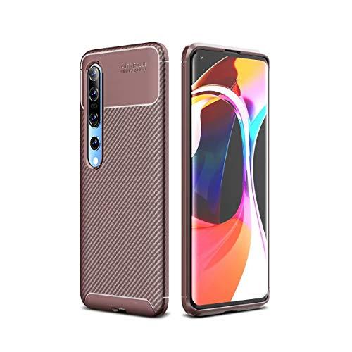 AILZH Handyhülle für Xiaomi Mi 10 Pro/Mi 10 Hülle Weiches TPU Silikon Handyhülle Schutzhülle Kratzschutz Anti-Schock Stoßfänger Stoßfest Shockproof Bumper Cover Carbon-Faser Hülle(Brown)