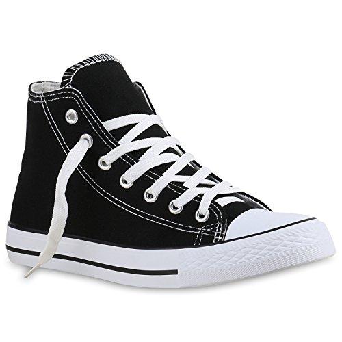stiefelparadies Damen Sneakers High Top Sportschuhe Stoffschuhe Freizeit Schuhe 138762 Schwarz Brooklyn 37 Flandell