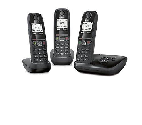 Gigaset AS470A Trio - Teléfono (Teléfono DECT, Terminal inalámbrico, Altavoz, 100 entradas, Identificador de llamadas, Negro)